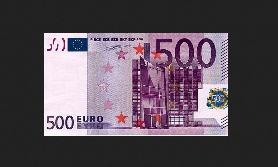 la foto riprende una banconota da 500 euro