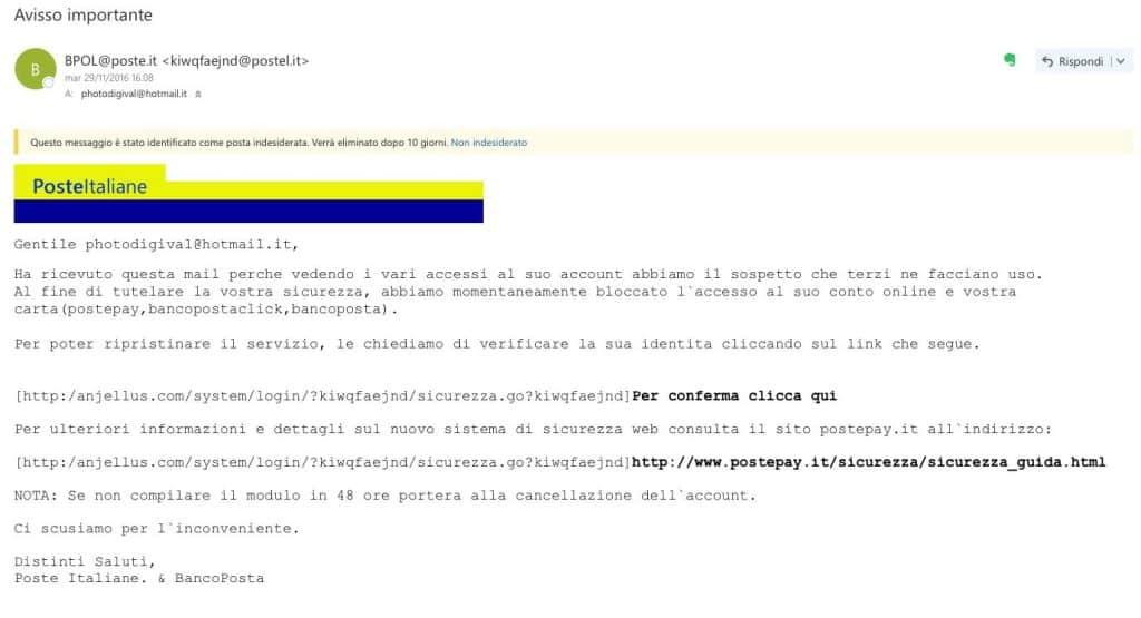 e-mail truffa per l'identità elettronica