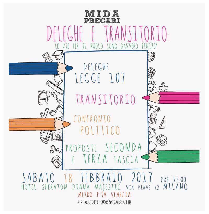 Il 18 febbraio 2017 a Milano, dalle ore 15, si terrà il convegno del MIDA Precari presso l'Hotel Sheraton Diana Majestic, in via Piave 42 (MM Porta Venezia).