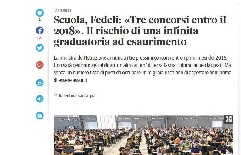 In arrivo tre concorsi, li annuncia la ministra Fedeli, con un però