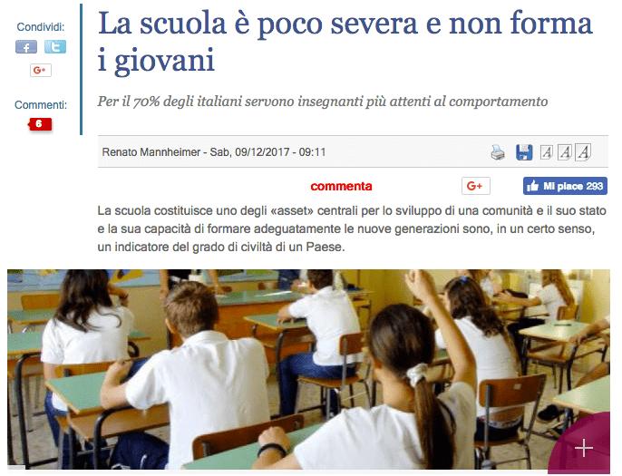 scuola più severa, titolo del giornale